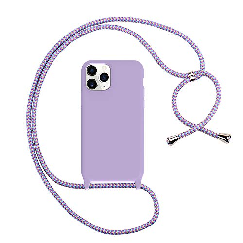 Peacocktion iPhone 11 Pro Case -TPU Crossbody Lanyard Strap Phone Holder - Cell Phone Case with Neck Cord - Phone Necklace Cover for iPhone 11 Pro 5.8'' (Purple)