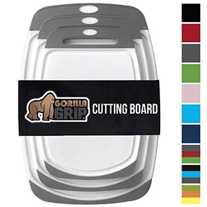 Gorilla Grip Original Reversible Cutting Board (3Piece) Extra Large Kitchen (Set of Three Gray)