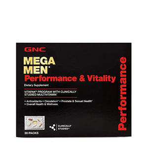 GNC Mega Men Performance and Vitality Daily Multivitamin Vitapak, 30 Count, Prostate Sexual Health