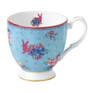 Royal Albert Candy Vintage Mug, 10.5 Oz, Mostly White With Slight Blue & Multicolored Print