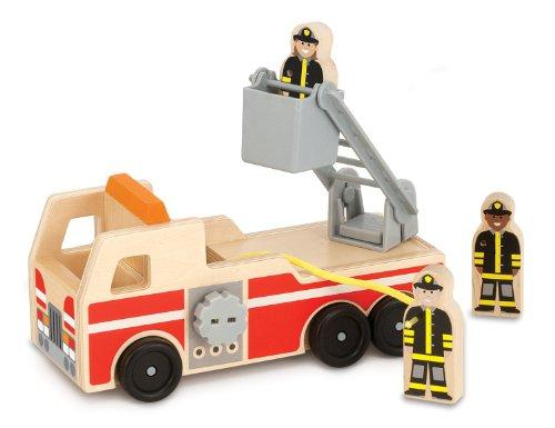 Melissa & Doug Wooden Fire Truck With 3 Firefighter Play Figures