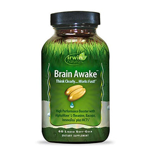 Irwin Naturals Brain Awake Enhanced Mental Performance, Increased Focus, Boost Clarity & Concentration - Powerful Nootropic Booster with L-Theanine, Bacopa, MCT's & InnovaTea - 60 Liquid Softgels