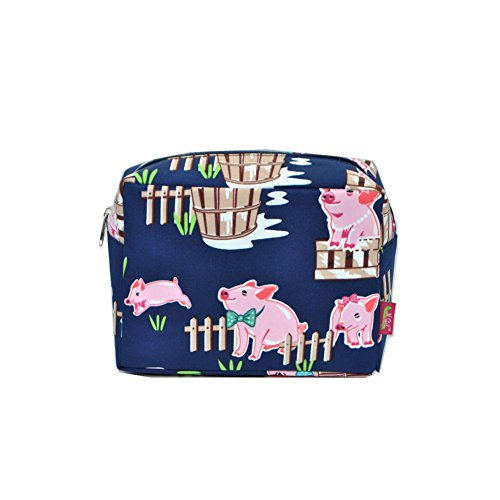 N. Gil Large Travel Cosmetic Pouch Bag 2 (Pig Navy Blue)