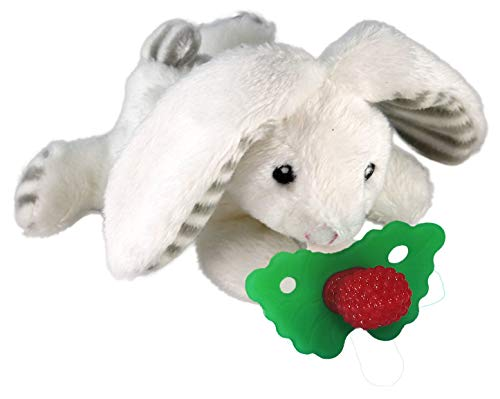 RAZBABY Razbuddy Razberry Teether/Pacifier Holder w/Removable Baby Teether Toy - 0M+ - Bpa Free - Bunny