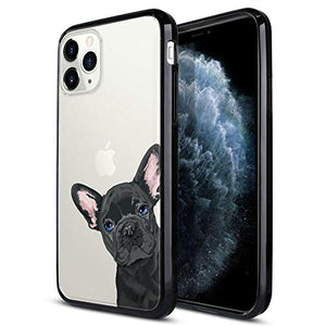FINCIBO Case Compatible with Apple iPhone 11 Pro 5.8 inch 2019, Slim TPU Bumper + Clear Hard Protective Case Cover for iPhone 11 Pro (NOT FIT 11 Pro Max) - French Bulldog Puppy Dog Black Look for You