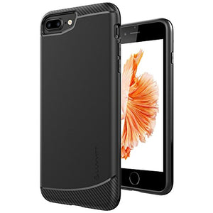 iPhone 8 Plus Case, LUVVITT [Sleek Armor] Slim Shock Absorbing Flexible Back Cover TPU Rubber Case for Apple iPhone 8 Plus (2017) - Black