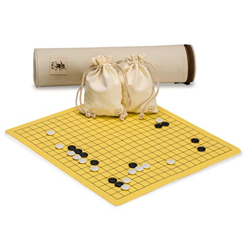Yellow Mountain Imports Magnetic 19x19 Roll-up Portable Travel Go Game Set Board (14.4 x 13.6-Inch) with Single Convex Stones