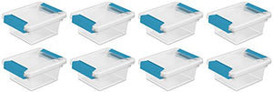 Sterilite Mini Clip Box, Clear With Blue Aquarium Latches, 8-Pack