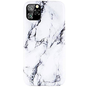 Reejax iPhone 11 Pro Max Case with Glass Screen Protector, Cute White Black Marble for Girls Women Best Protective Slim Fit Clear Bumper Glossy TPU Soft Silicon Cover Phone Case for iPhone 11 Pro Max