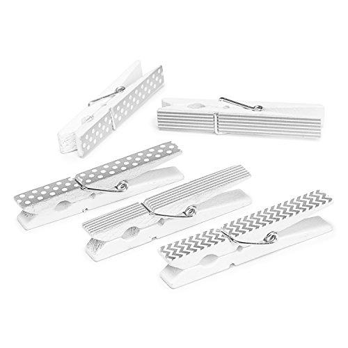 Darice Silver Finish Printed Large Clothespins, 12 Piece (30029513)