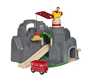BRIO World - 33889 Crane & Mountain Tunnel | 7 Piece Toy Train Accessory for Kids Ages 3 and Up,Multi