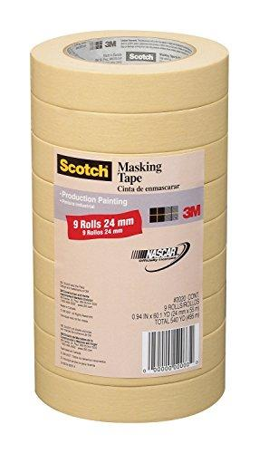 3M 2020-1A-Cp 2020-24A-Cp Masking Tape, 9 Rolls-0.94 Inch X 60.1 Yards, Browns
