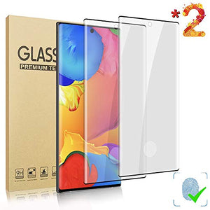 LELANG Galaxy Note 10 (6.3 inch) HD Screen Protector, [2 Pack] [3D Full Coverage] [Designed for Fingerprint Unlock] Tempered Glass Film for Samsung Galaxy Note 10