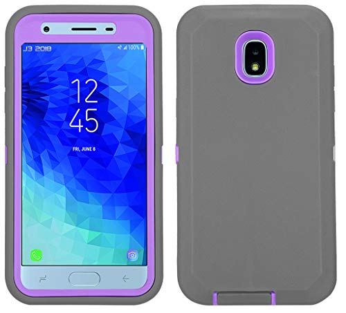 Annymall Galaxy J7 2018 Case, Heavy Duty Defender Armor Cover with Swivel Belt Clip & Built-in Screen Protector for Samsung J7 2018/ Galaxy J7 Aero/ J7 Refine/ J7 Star/ J7 Crown(2018) (Grey/Purple)