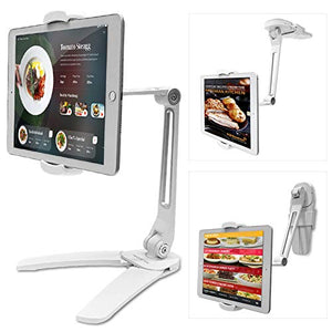 AboveTEK Kitchen Tablet Stand – HIGHFlex 360 Superior Strength Portable 4.7 to 13.5 Inch Universal Tablet Stand & Phone Holder for Kitchen, Counter & Wall – 4 PT Wobble Free Mount (White)