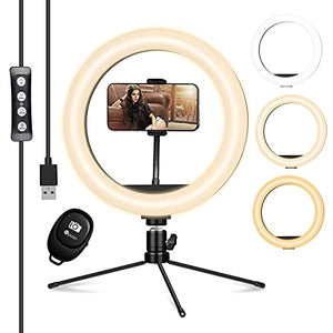 "HPUSN 10"" LED Ring Light with Tripod Stand & Phone Holder for Makeup & Live Streaming, Dimmable Desk Makeup Ring Light for Photography, Shooting with 3 Light Modes & 10 Brightness Level"