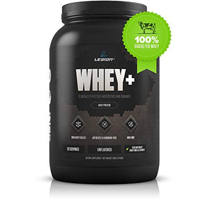 Legion Whey+ Whey Isolate Protein Powder from Grass Fed Cows - Low Carb, Low Calorie, Non-GMO, Lactose Free, Gluten Free, Sugar Free. Great for Weight Loss (2 Pound, Unflavored)
