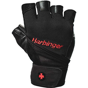 Harbinger Pro Wristwrap Weightlifting Gloves With Vented Cushioned Leather Palm (Pair) Medium