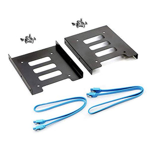 SAISN HDD SSD Mounting Bracket 2.5 to 3.5 Adapter Hard Drive Holder (Single Drive, 2 Pack + Blue SATA III Cables)