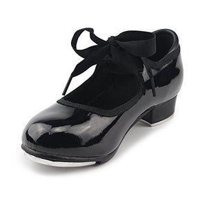 MSMAX Women Black Patent Character Mary Jane Flexible Dance Tap Shoes Size 9