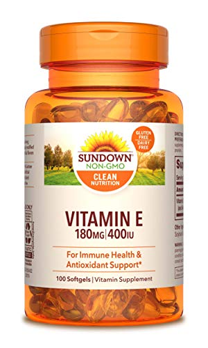 Sundown Vitamin E 400 IU Di-Alpha, Immune Health & Antioxidant Support*, 100 Synthetic Softgels (Packaging May Vary)