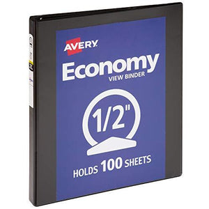 "Avery 0.5"" Economy View 3 Ring Binder, Round Ring, Holds 8.5"" X 11"" Paper, 1 Black Binder (5705)"