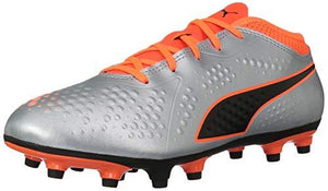 Puma Unisex One 4 Syn Fg Jr Soccer Shoe Silver-Shocking Orange Black 5 M Us Big Kid