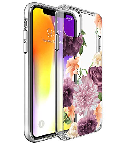 iPhone 11 Case, SPEVERT Flower Pattern Printed Clear Design Transparent Hard Back Case with TPU Bumper Cover for iPhone 11 6.1 inch 2019 Released - Purple Rose