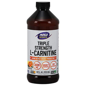 NOW Sports Nutrition, L-Carnitine Liquid, Triple Strength 3000 mg, Citrus, 16-Ounce