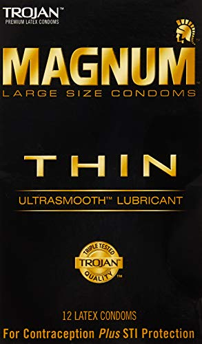 Trojan Condom Magnum Thin Lubricated -12 Count, 1 Pack