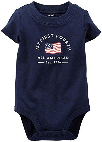Carter'S Holiday Slogan Bodysuit (Baby) - Navy-3 Months