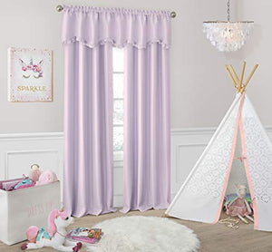 "Elrene Home Fashions Adelaide Nursery and Kids Blackout Rod Pocket Window Curtain Panel, 52"" x 95"" (1, Lavender"