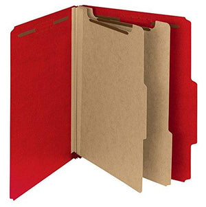 Smead 100 Percent Recycled Pressboard Classification Folder, 2 Dividers, 2-Inch Expansion, Letter Size, Bright Red, 10 Per