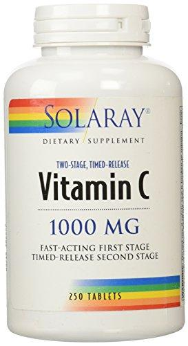 Solaray Vitamin C W/Rose Hips & Acerola | 1000Mg | Two-Stage Timed-Release Healthy Immune Function, Skin, Hair & Nails Support | Non-Gmo | 250Ct