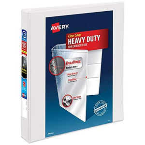 "Avery 1"" Heavy Duty View 3 Ring Binder, One Touch Slant Ring, Holds 8.5"" X 11"" Paper, 1 White Binder (79799)"