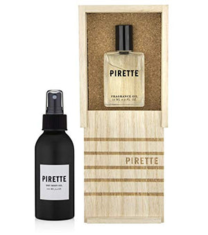 Pirette Dry Body Oil and Pirette Perfume Oil with a Gute Carrying Case (3 Piece Bundle)