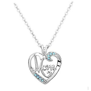 "Angela ""I Love You To The Moon And Back Sky Blue Womens Fashion Heart Mom Pendant Necklace"