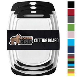 Gorilla Grip Original Reversible Cutting Board (3Piece) Extra Large (Set of Three Black)