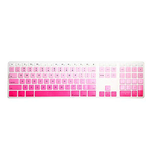 HRH Ombre Pink Silicone Keyboard Cover Keypad Skin for Apple Magic Keyboard with Numeric Keypad A1843 MQ052LL/A Released in 2017 (US Layout)