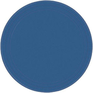 "Amscan 69915.74 Round Dinner Plates, 10 1/2"", Navy Flag Blue"
