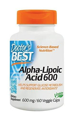 Doctor'S Best Alpha-Lipoic Acid Non-Gmo Soy Free Promotes Healthy Blood Sugar 600 Mg 60 Veggie Caps