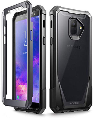Galaxy A6 Case, Poetic Guardian [Scratch Resistant Back] [Built-in-Screen Protector] Full-Body Rugged Clear Hybrid Bumper Case for Samsung Galaxy A6 (2018) (Do not fit Galaxy A6 Plus) - Black