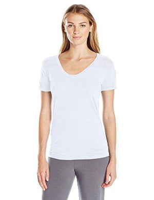2(X)IST Women's Mesh Scoopneck Tee, White, Large