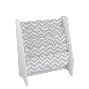 Kidkraft Wooden Sling Bookcase - Gray & White- Sturdy Canvas Fabric, Chevron Pattern