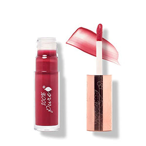 100% Pure Lip Gloss (Fruit Pigmented), Pomegranate Wine, High Shine, Moisturizing, Natural Lip Gloss, Sheer Finish, Tinted Lip Gloss W/Cocoa Butter, Vitamin E (Medium Berry Red Color) - 0.14 Fl Oz
