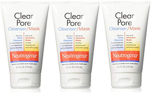 Neutrogena Clear Pore Facial Cleanser / Face Mask containing Kaolin & Bentonite Clay, Acne Treatment with Benzoyl Peroxide, 4.2 fl. oz (Pack of 3)