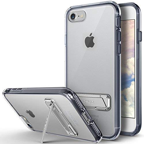 OBLIQ [Naked Shield S] Designed for iPhone SE 2020 [2nd Generation], iPhone 8 Case [Metal Kickstand] Slim Crystal Back Heavy Duty Protection for Apple iPhone SE 2020, iPhone 8 (Navy/Blue)