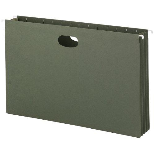 "Smead Hanging File Pocket, 3-1/2"" Expansion, Legal Size, Standard Green, 10 Per Box (64320)"