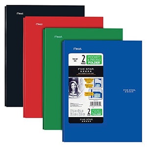 Five Star 2 Pocket Folders With Prong Fasteners, Stay-Put Folder