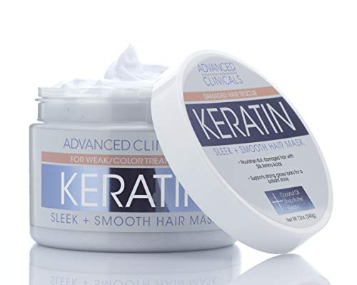 Advanced Clinicals Keratin Hair Treatment Mask for Color Treated Hair Detoxifying Keratin Conditioner to Strengthen Broken, Color-Treated Hair Fortifying Hair Repair Mask with Shea Butter, 12 oz.